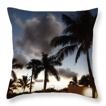Tropical Twilight With Stars Throw Pillow