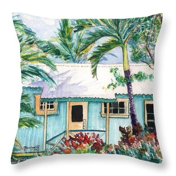 Tropical Vacation Cottage Throw Pillow by Marionette Taboniar