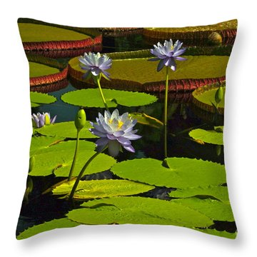 Tropical Water Lily Flowers And Pads Throw Pillow by Byron Varvarigos