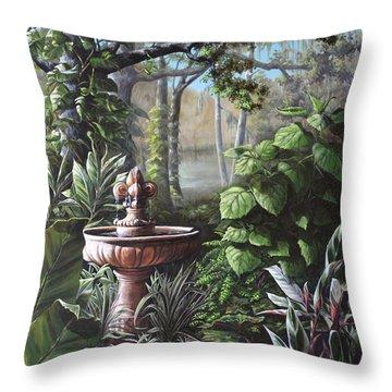 Florida Tropical Garden Throw Pillow
