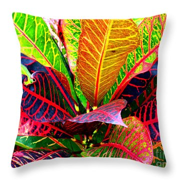 Tropicals Gone Wild Naturally Throw Pillow by David Lawson