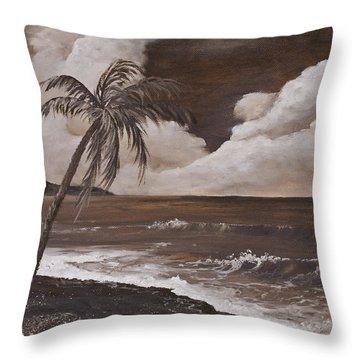 Tropics In Brown Throw Pillow