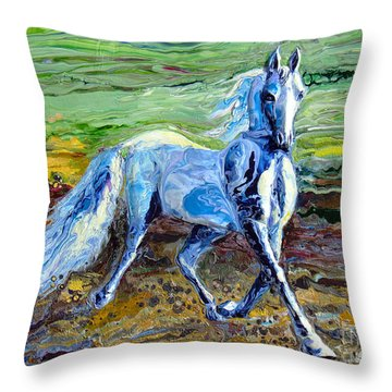Trotting With Style Throw Pillow by En-Chuen Soo