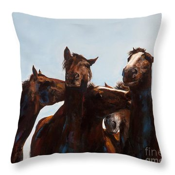 Trouble Makers Throw Pillow by Frances Marino