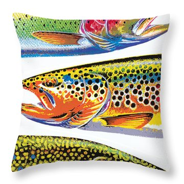 Trout Abstraction Throw Pillow