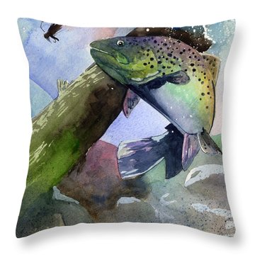 Trout And Fly Throw Pillow