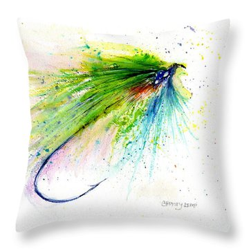 Trout Fly Throw Pillow by Christy Lemp