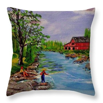 Trout For Dinner Throw Pillow