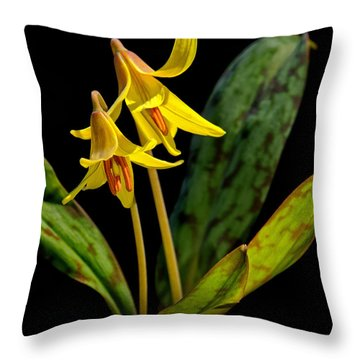 Trout Lilies Throw Pillow