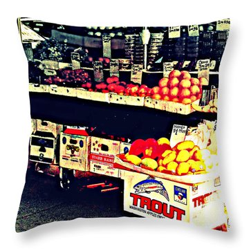 Throw Pillow featuring the photograph Vintage Outdoor Fruit And Vegetable Stand - Markets Of New York City by Miriam Danar