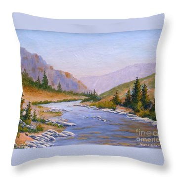 Trout Stream Throw Pillow