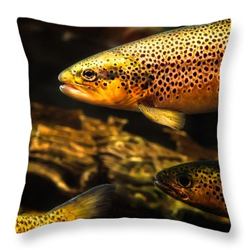 Trout Swiming In A River Throw Pillow