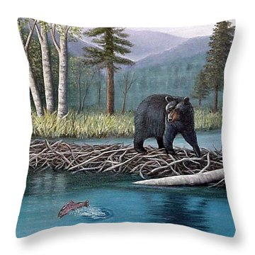 Trout Temptation Throw Pillow