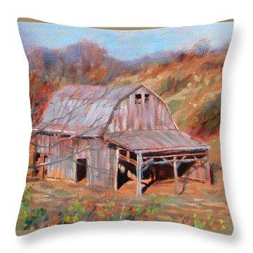 Troutville Barn Throw Pillow by Bonnie Mason