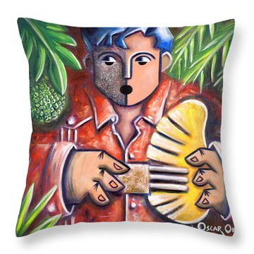 Trovador De La Pana Throw Pillow by Oscar Ortiz