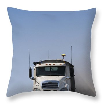 Truck Driving On Dusty Gravel Road Throw Pillow