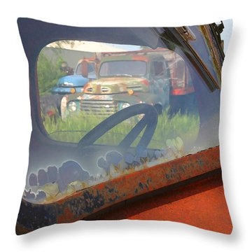 Throw Pillow featuring the photograph Truck Glass by Christopher McKenzie