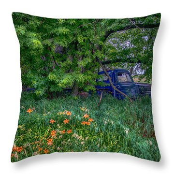 Truck In The Forest Throw Pillow