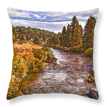 Truckee River California-d Throw Pillow