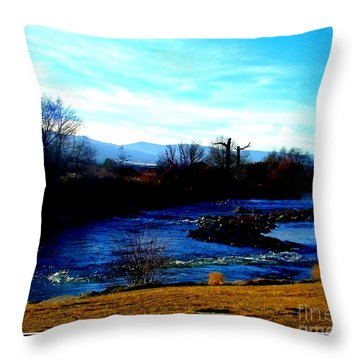 Throw Pillow featuring the photograph Truckee River In Motion by Bobbee Rickard