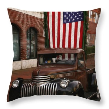 Truckin Old Glory Throw Pillow