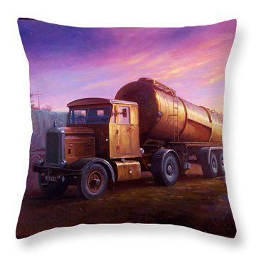 Truckstop 1956 Throw Pillow by Mike  Jeffries
