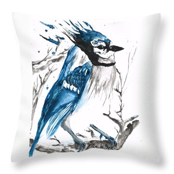 True Blue Jay Throw Pillow
