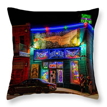True Blue Tattoos Throw Pillow by Tim Stanley