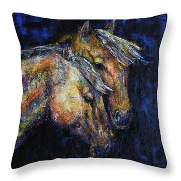 True Companions Contemporary Horse Painting Throw Pillow