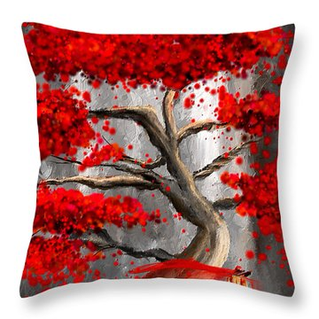 True Love Waits - Red And Gray Art Throw Pillow