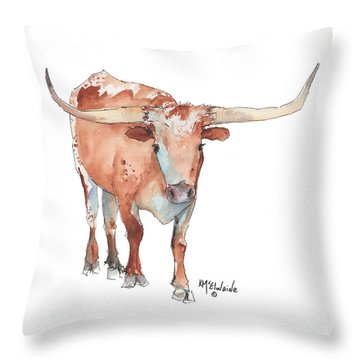 Square Walking Tall Texas Longhorn Watercolor Painting By Kmcelwaine Throw Pillow by Kathleen McElwaine