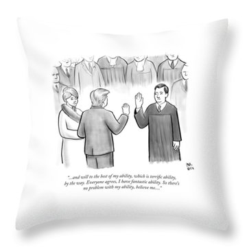 Trump Being Sworn Into Office Throw Pillow