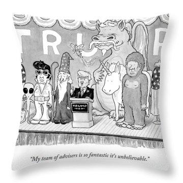 Trump Giving A Speech Throw Pillow