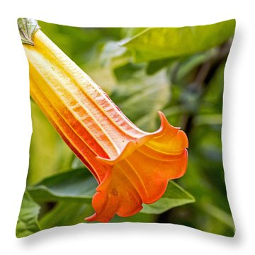 Trumpet Flower Throw Pillow