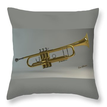 Trumpet Throw Pillow by Louis Ferreira