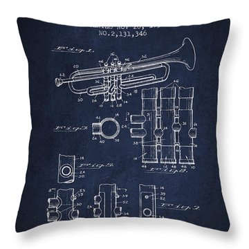 Trumpet Patent From 1939 - Blue Throw Pillow by Aged Pixel