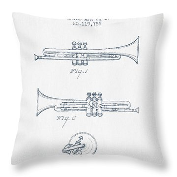 Trumpet Patent From 1940 - Blue Ink Throw Pillow by Aged Pixel