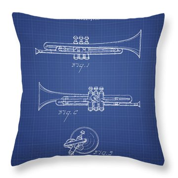 Trumpet Patent From 1940 - Blueprint Throw Pillow by Aged Pixel