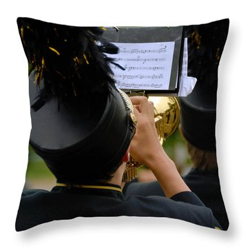 Trumpet Player In Marching Band Throw Pillow by Amy Cicconi
