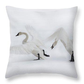Trumpeter Dispute Throw Pillow