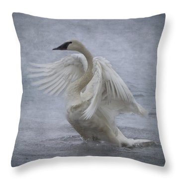 Trumpeter Swan - Misty Display Throw Pillow
