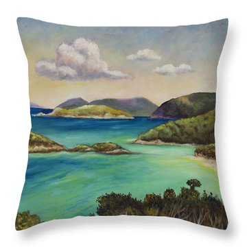 Trunk Bay Overlook Throw Pillow by Eve  Wheeler