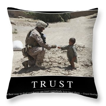 Trust Inspirational Quote Throw Pillow by Stocktrek Images