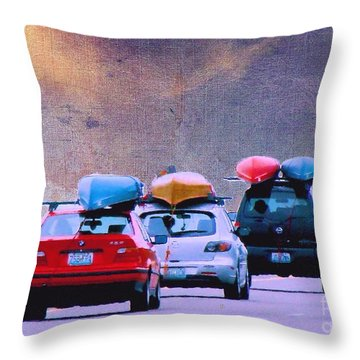 Throw Pillow featuring the photograph Trying To Beat The Rain by Janette Boyd