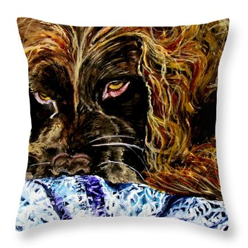 Trying To Sleep Here Throw Pillow by Lil Taylor