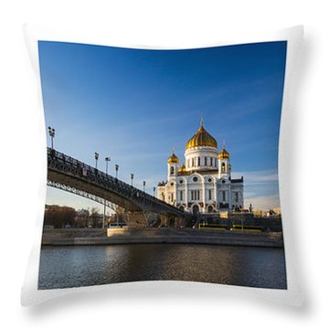 Tryptich - Cathedral Of Christ The Savior Of Moscow City - Features 3 Throw Pillow by Alexander Senin