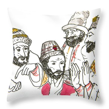 Tsar And Courtiers Throw Pillow by Marwan George Khoury