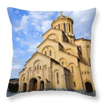 Tsminda Sameba Cathedral Tbilisi Georgia Throw Pillow by Robert Preston