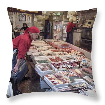 Throw Pillow featuring the photograph Tsukiji Fish Market Tokyo by Colleen Williams