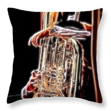Tuba Player Throw Pillow by Ron Roberts